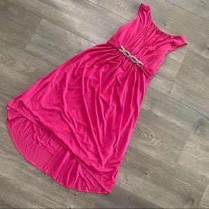Shelli Segal Rhinestone Pink Midi High Low Dress